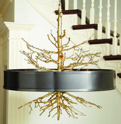 Twig Pendant-Brass on Brass W/Bronze Shade