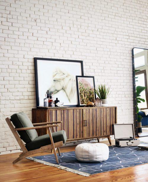 Brooks Lounge Chair Stone Wash Dark Green