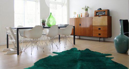WILD cowhide verde room scene