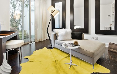 WILD cowhide yellow room scene